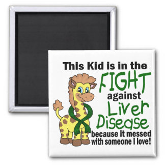 Niño en la lucha contra enfermedad del higado imán cuadrado