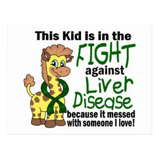 Niño en la lucha contra enfermedad del higado tarjetas postales