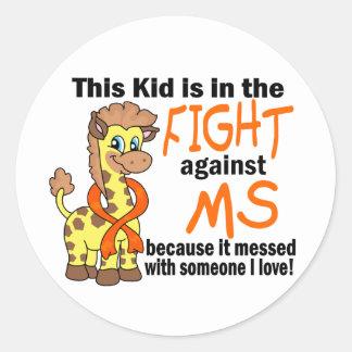 Niño en la lucha contra esclerosis múltiple del ms pegatinas redondas