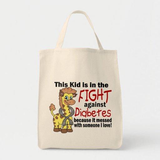 Niño en la lucha contra la diabetes bolsa tela para la compra