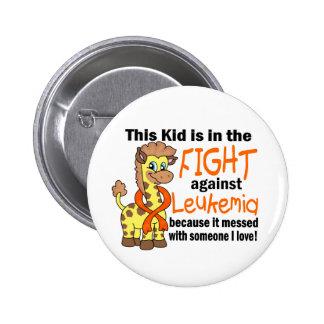 Niño en la lucha contra leucemia pin redondo de 2 pulgadas
