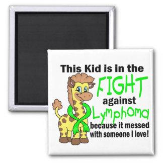 Niño en la lucha contra linfoma imán cuadrado