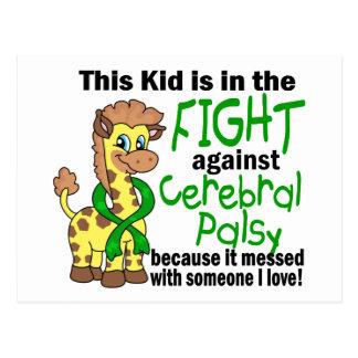 Niño en la lucha contra parálisis cerebral tarjeta postal