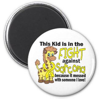 Niño en la lucha contra sarcoma imán redondo 5 cm