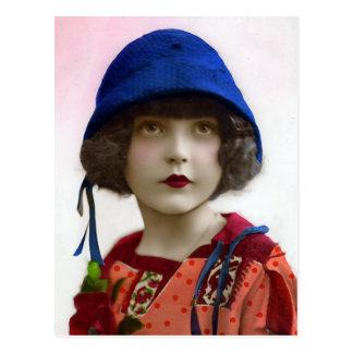 """""""Niño en retrato del vintage del gorra azul"""" Postal"""