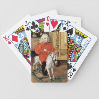 Niño en un caballo mecedora baraja de cartas bicycle