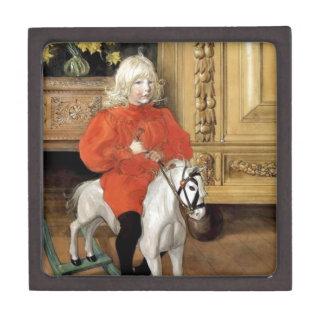 Niño en un caballo mecedora cajas de joyas de calidad
