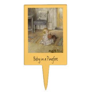 Niño en un delantal decoración de tarta