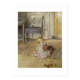 Niño en un delantal tarjetas postales