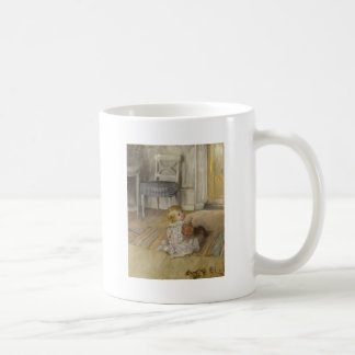 Niño en un delantal taza