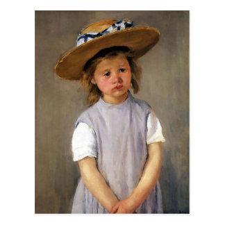 Niño en un gorra de paja postal