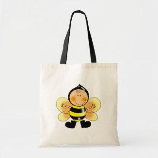 Niño en un traje de la abeja bolsas lienzo