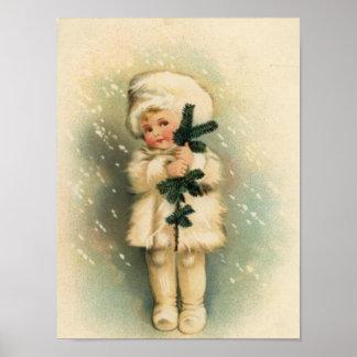 Niño en una tarjeta de la nevada poster
