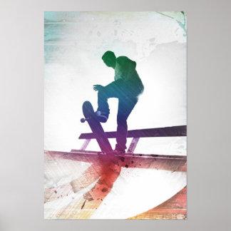 Niño enrrollado del patín del skater póster