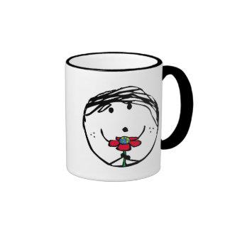 Niño feliz para un mejor mundo taza de café