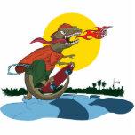 Niño fresco del dinosaurio en el monopatín por Pat Escultura Fotográfica