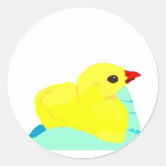 Niño grapic del polluelo de los niños azules etiquetas redondas