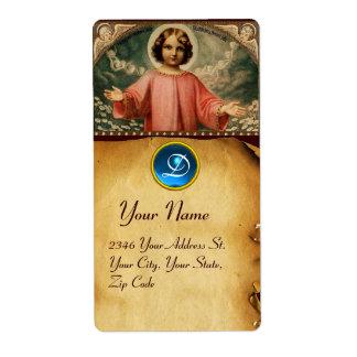 NIÑO JESÚS CON ÁNGELES, pergamino Etiquetas De Envío