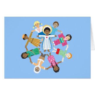Niño Jesús con los niños de todas las naciones Tarjeta De Felicitación