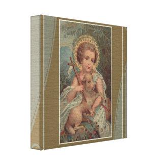 Niño Jesús de Cristo del vintage con la cruz y el Impresion De Lienzo