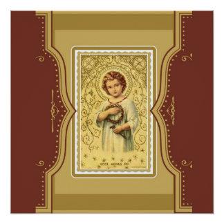 Niño Jesús de Cristo del vintage con las espinas y Perfect Poster