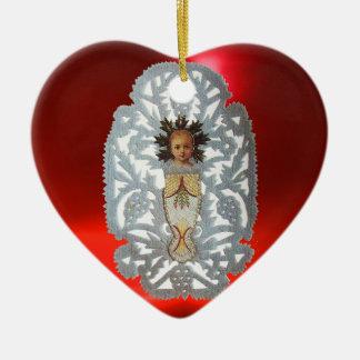 Niño Jesús, talla de papel del corazón antiguo del Adorno Navideño De Cerámica En Forma De Corazón