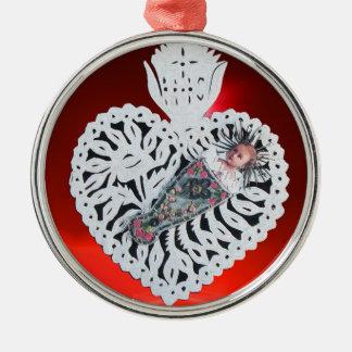 Niño Jesús, talla de papel del corazón antiguo del Adorno Navideño Redondo De Metal