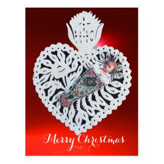 Niño Jesús, talla de papel del corazón antiguo del Tarjetas Postales