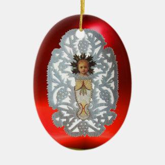 Niño Jesús, talla de papel del navidad antiguo Adorno Navideño Ovalado De Cerámica