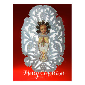 Niño Jesús, talla de papel del navidad antiguo Tarjeta Postal