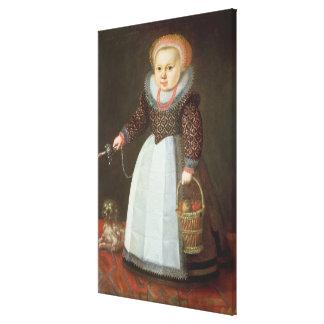 Niño joven con un perro lienzo envuelto para galerias
