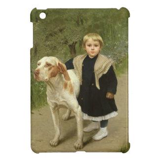 Niño joven y un perro grande (aceite en lona)