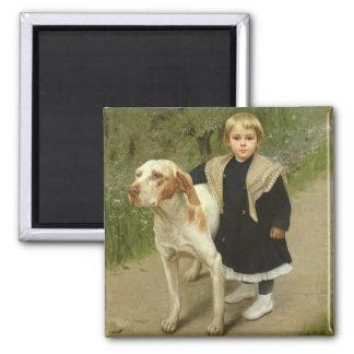 Niño joven y un perro grande (aceite en lona) imán cuadrado