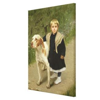 Niño joven y un perro grande (aceite en lona) impresiones en lienzo estiradas