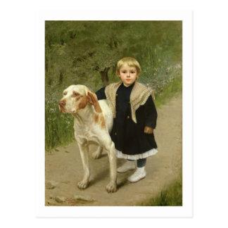Niño joven y un perro grande (aceite en lona) postales