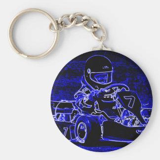 Niño Kart en azul y blanco Llavero Personalizado