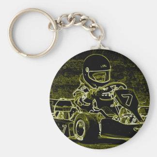 Niño Kart en negro, blanco, Lt. Verde Llaveros Personalizados