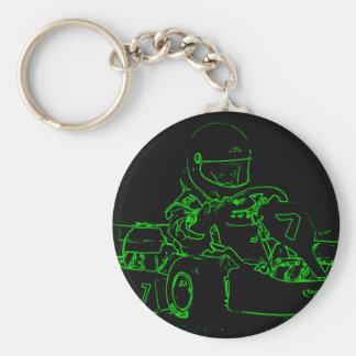 Niño Kart en verde Llaveros Personalizados