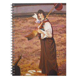 Nino la pintura figurada del payaso de la flora de libro de apuntes con espiral