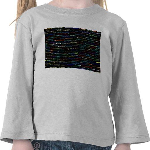 Niño largo de la manga del diseño I del texto de L Camisetas