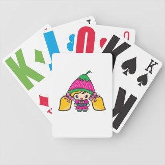 Niño lindo del chica de Kawaii con el gorra de la  Baraja Cartas De Poker