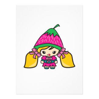Niño lindo del chica de Kawaii con el gorra de la Invitaciones Personalizada