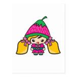 Niño lindo del chica de Kawaii con el gorra de la Postal