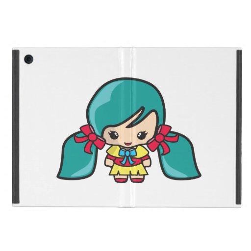 Niño lindo del chica de Kawaii con las coletas azu iPad Mini Funda
