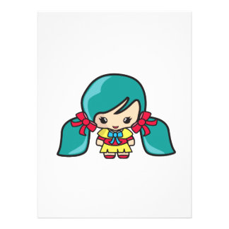 Niño lindo del chica de Kawaii con las coletas azu Invitaciones Personales