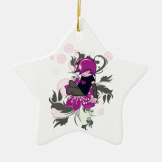 niño lindo del emo que se sienta en una flor adorno de cerámica en forma de estrella