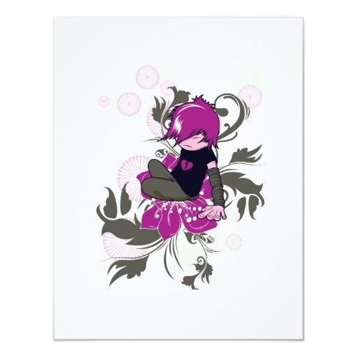 niño lindo del emo que se sienta en una flor comunicado personalizado