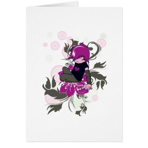 niño lindo del emo que se sienta en una flor tarjeta de felicitación