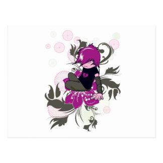 niño lindo del emo que se sienta en una flor tarjetas postales