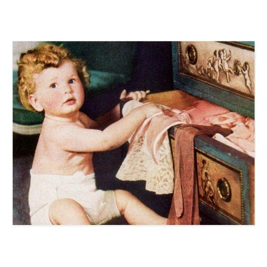 Niño lindo del vintage, chica del niño pequeño que postales